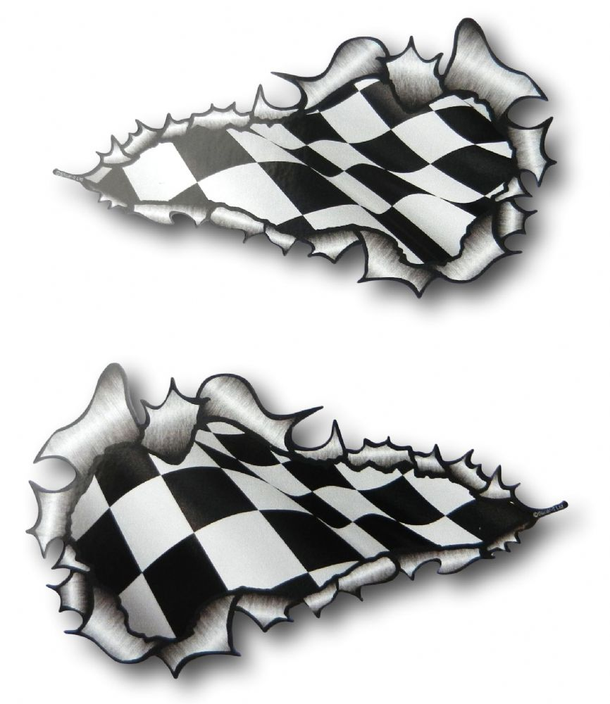 Long Pair Ripped Torn Metal Design With Flying Chequered
